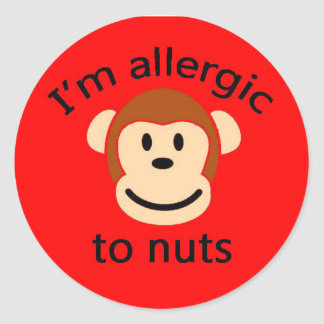 Nut allergy childrens sticker RED