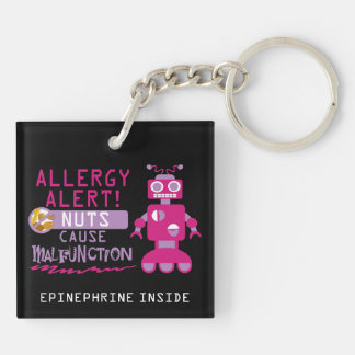 Nut Allergy Kids Pink Robot Girls Personalized Keychain