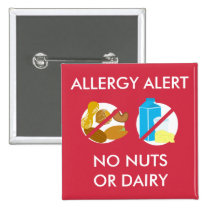 Nut and Dairy Food Allergy Alert Pin