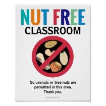 Nut Free Area Classroom Customized Allergy School Poster