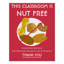 Nut Free Classroom Sign for School or Daycare Poster
