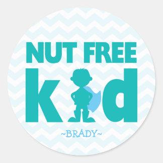 Nut Free Kid Superhero Boy Allergy Stickers