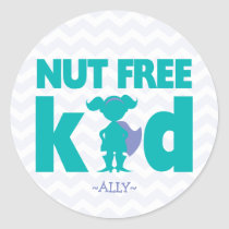 Nut Free Kid Superhero Girl Allergy Stickers
