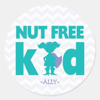 Nut Free Kid Superhero Girl Allergy Stickers