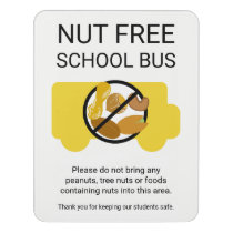 Nut Free School Bus Alert Custom Peanut Free Area Door Sign