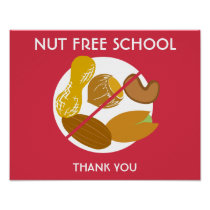 Nut Free School Sign for School or Daycare Poster
