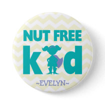 Nut Free Superhero Girl Button