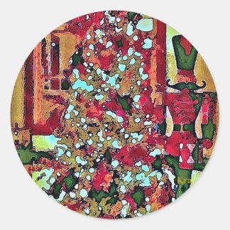 Nutcracker and Christmas Tree Round Stickers