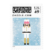 Nutcracker and snowflakes postage stamps