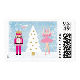 Nutcracker, Ballerina, and Christmas tree Stamps