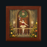 "Nutcracker Ballerina Tile Keepsake Jewelry Box<br><div class=""desc"">A beautiful nutcracker ballerina digital art tile keepsake jewelry box. Featuring a digital artwork by XG Designs NYC. This wonderful wooden box features a vibrant and colorful digital art on a tile top cover of a beautiful dancing ballerina in a decorated holiday ballroom. This box is a wonderful keepsake or...</div>"