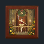 """Nutcracker Ballerina Tile Keepsake Jewelry Box<br><div class=""""desc"""">A beautiful nutcracker ballerina digital art tile keepsake jewelry box. Featuring a digital artwork by XG Designs NYC. This wonderful wooden box features a vibrant and colorful digital art on a tile top cover of a beautiful dancing ballerina in a decorated holiday ballroom. This box is a wonderful keepsake or...</div>"""