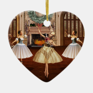 Nutcracker Ballerinas Christmas Heart Ornament