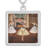 Nutcracker - Ballerinas Square Silver Necklace