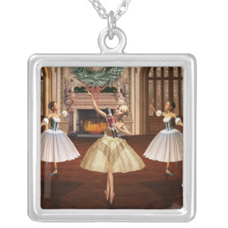 Nutcracker - Ballerinas Square Silver Necklace