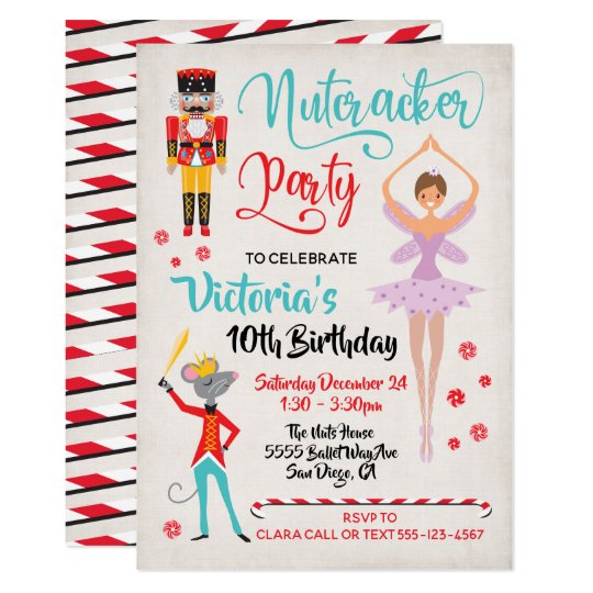 Christmas Birthday Party Invitations.Nutcracker Ballet Christmas Birthday Party Invitation