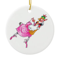 Nutcracker Chicken Ceramic Chritnas Ornament