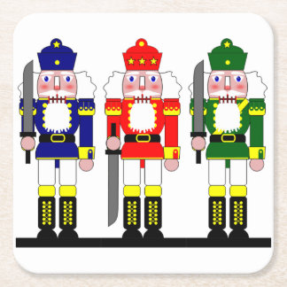 Nutcracker Christmas Personalized Square Paper Coaster