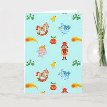 Nutcracker, horse, angel and bird Xmas pattern Holiday Card
