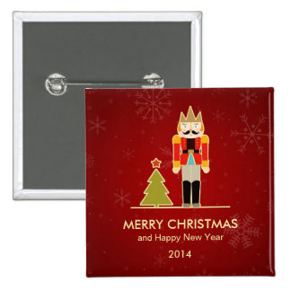 Nutcracker Merry Christmas and Happy New Year 2014 Button