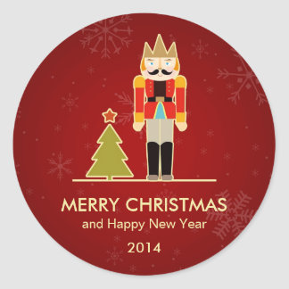 Nutcracker Merry Christmas and Happy New Year 2014 Classic Round Sticker