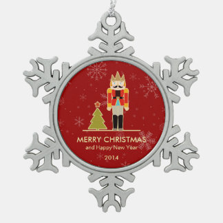 Nutcracker Merry Christmas and Happy New Year 2014 Snowflake Pewter Christmas Ornament