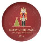 Nutcracker Merry Christmas and Happy New Year 2014 Plates