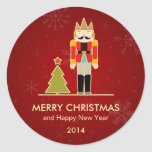 Nutcracker Merry Christmas and Happy New Year 2014 Round Stickers