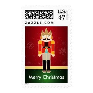 Nutcracker Solider Cute Mustache Merry Christmas Postage