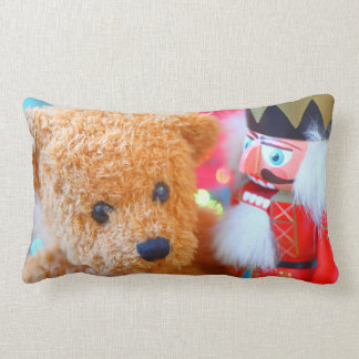 Nutcracker talks to teddy bear lumbar lumbar pillow