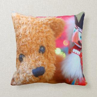 Nutcracker talks to teddy bear throw pillow