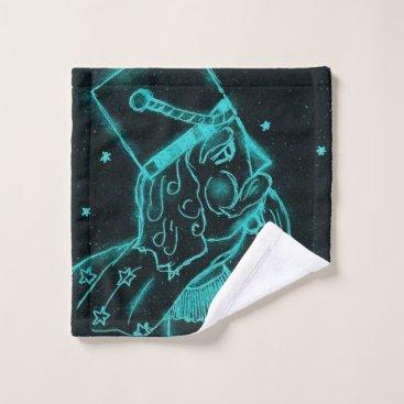 Aqua NUTCRACKER TOY SOLDIER in Black and Aqua Bath Towel Set