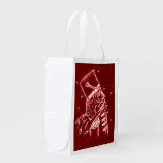 Nutcracker Toy Soldier in Bright Red Reusable Grocery Bag