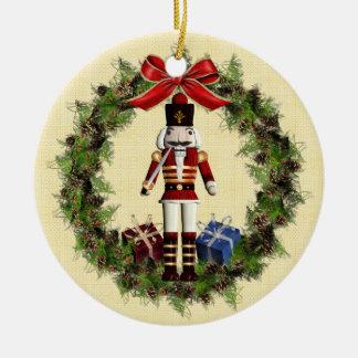 Nutcracker Wreath Custom Round Christmas Ornament