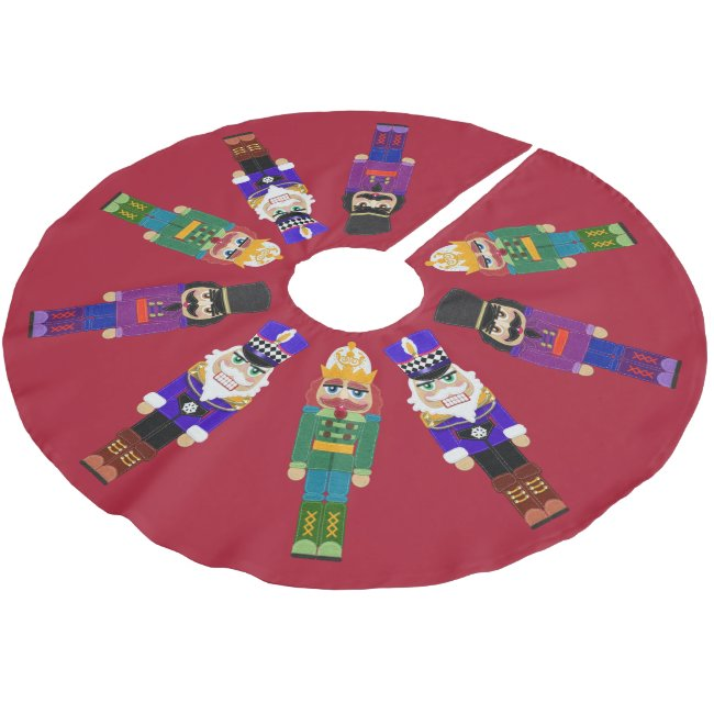 Nutcrackers Felt Look With Stitching Brushed Polyester Tree Skirt