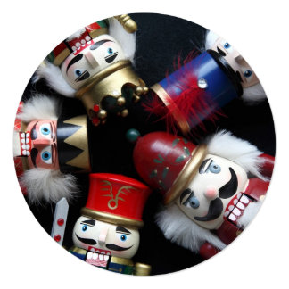 Nutcrackers heads together Christmas party 5.25x5.25 Square Paper Invitation Card