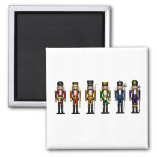 Nutcrackers in Rainbow Colors 2 Inch Square Magnet