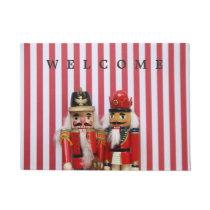 Nutcrackers on stripes doormat