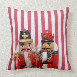 Nutcrackers on stripes throw pillow