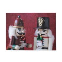 Nutcrackers with ornaments doormat