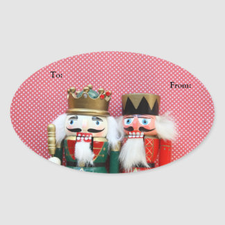 Nutcrackers with polka dots gift tag oval stickers