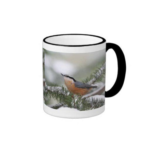 Nuthatch on Snowy Branch in Winter Ringer Coffee Mug