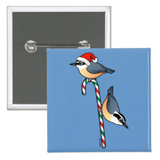 Nuthatch Santa 2 Inch Square Button