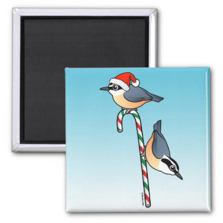 Nuthatch Santa 2 Inch Square Magnet