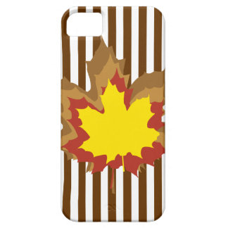 Nutmeg Autumnal Stripes with Leaves iPhone 5 Cases