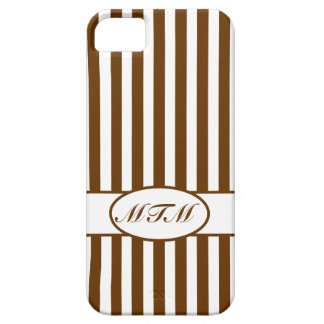 Nutmeg Autumnal Stripes with monogram iPhone 5 Cases