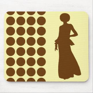 Nutmeg Cream Neutral Dots Fashion Silhouette Mouse Pad