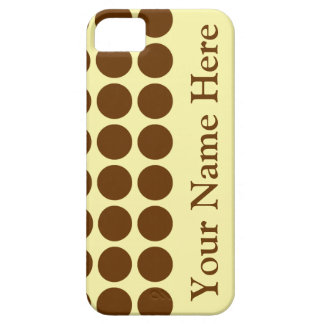 Nutmeg Cream Neutral Dots with name iPhone 5 Cover