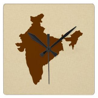 Nutmeg Spice Moods India Square Wall Clock