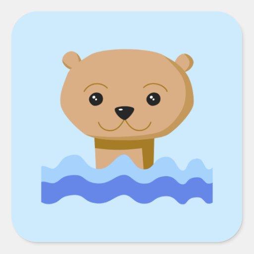 Nutria de la natación pegatinas